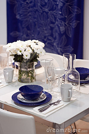 Free White And Blue Dining Table In Restaurant Stock Image - 22396631