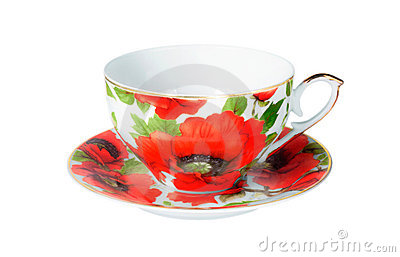 White antique cup with red flowers poppy isolated