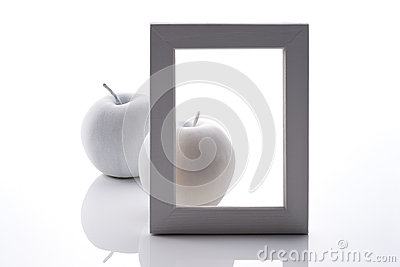 White apples back of frame