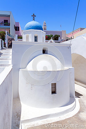 White church of Fira town on Santorini island