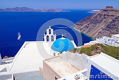 White architecture of Fira town on Santorini island