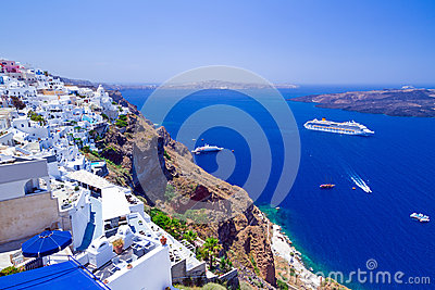 White architecture of Fira town on Santorini island
