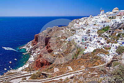 White architecture of Oia town on Santorini island