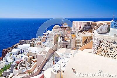 White architecture of Oia town on Santorini island