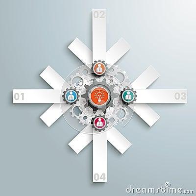 4 White Arrows Gears Cross Businessmen PiAd