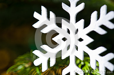 White artificial snowflake