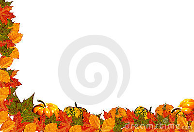 White Background With Autumn Half Frame