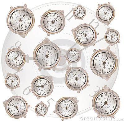 White background with classic clocks pattern