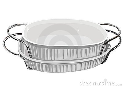 White baking dishes with handles