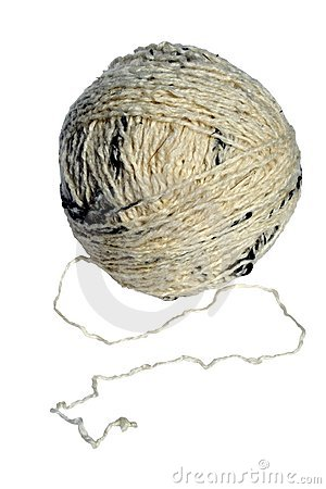 A white ball of yarn