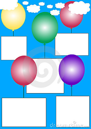 White banners on balloons
