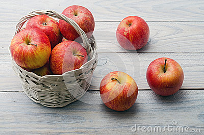 White Basket with Apples