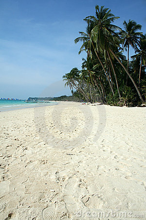 white beach blue sky boracay island background