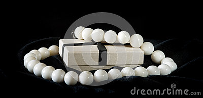White beads with box