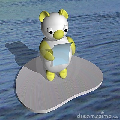 The white she-bear on an ice floe reads the letter