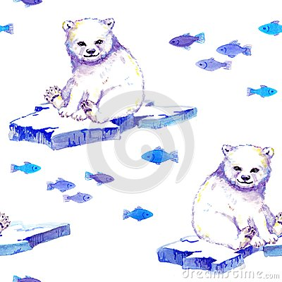 Free White Bear On Ice Floe With Fishes. Seamless Background. Watercolor Royalty Free Stock Photos - 123894548