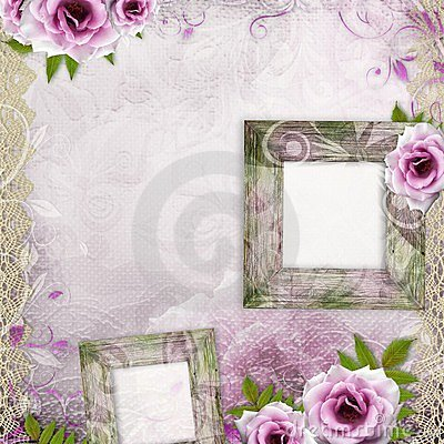 White beautiful wedding background with frame