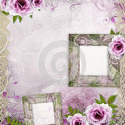White beautiful wedding background with frame