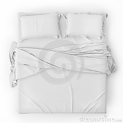 Free White Bed In Empty Space Isolated On White, Render Royalty Free Stock Image - 46281456