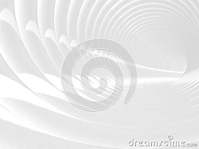 With white bent spiral tunnel interior