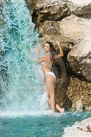 White bikini and waterfall