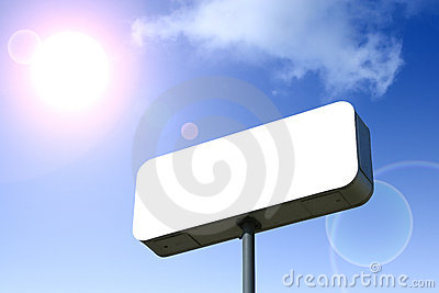 White Billboard, Blue Sky Behind. Outlined With Clipping Path.