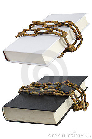 White and black book with rust chain