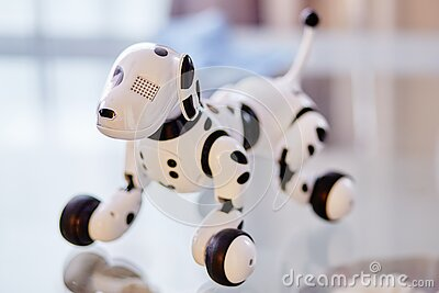 White And Black Dog Robot On Clear Glass Table Free Public Domain Cc0 Image