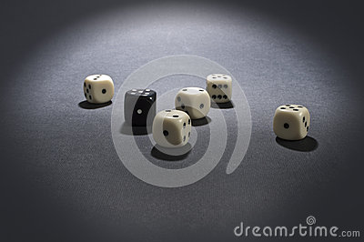 White and black gambling dices.