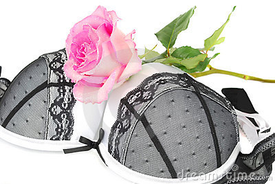 White and black lingerie bra with pink rose