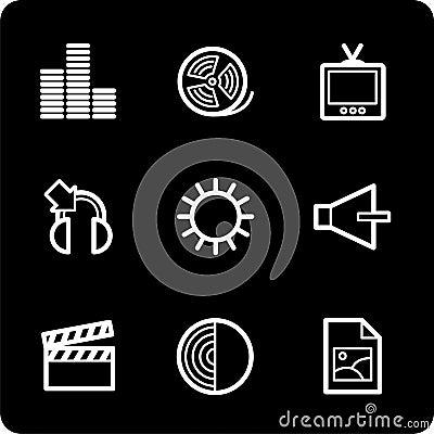 White on black multimedia icon