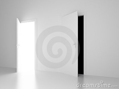 White and black open doors of future
