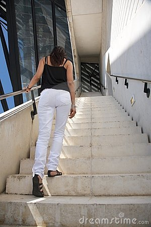 White and black woman upstairs