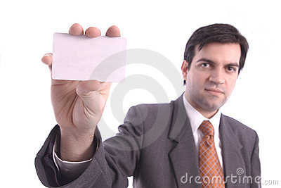 White blank card holded by a businessman