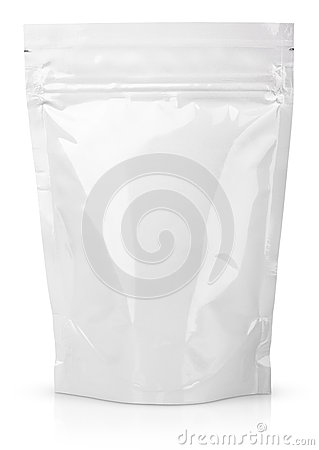 Free White Blank Foil Or Plastic Sachet With Valve And Seal Stock Photos - 41644883