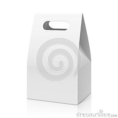 White blank hand cake, bread packaging paper bag