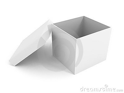 White blank open box over white background