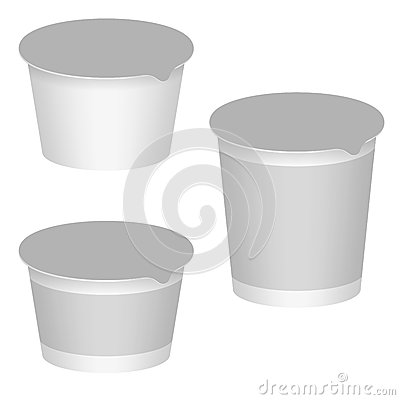 White Blank Packaging For Yogurt, Milk Products, Desserts. Set