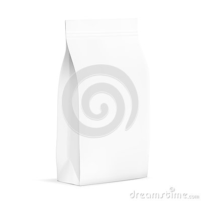Free White Blank Plastic Or Paper Packaging With Ziplock. Sachet For Bread, Coffee, Candys, Cookies, Gifts Stock Images - 79698344