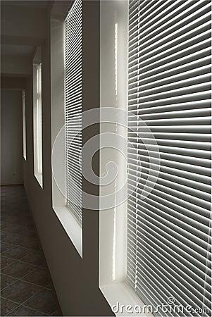 Free White Blinds In Dark Corridor In Perspective Stock Photos - 19531023