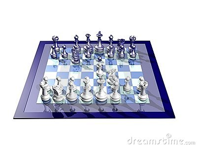 WHITE AND BLUE CHESSBOARD