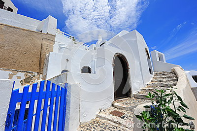 White and blue houses in Oia village, Santorini
