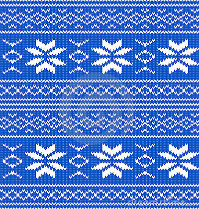 White and blue knitted seamless pattern