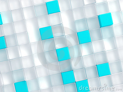 White and blue plastic cubes