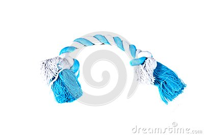 White and blue rope chew toy for dogs