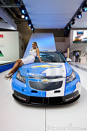 White and blue sport car Chevrolet Cruze Editorial Stock Photo