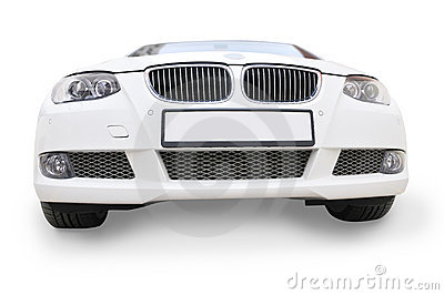 white BMW car front view