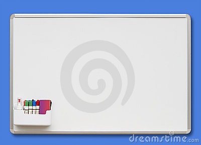 White board on blue, isolated