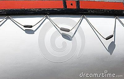 White board of boat side