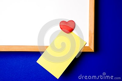 White-board with yellow note